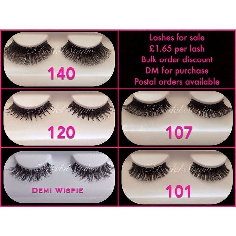 A range of Eyelashes available from Z Bridal Studio